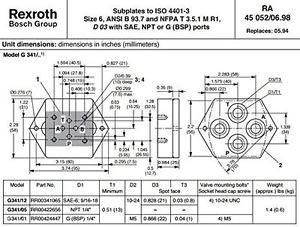 Rexroth Bosch Group G341/01 RR00424447 Hydraulic Valve Subplate, G BSP 1/4