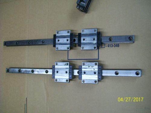 1 SET 4 REXROTH LINEAR BEARING ROLLER BLOCK amp; 2 23#034; GUIDE RAIL 1651-714-22