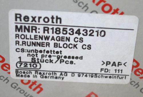 BOSCH REXROTH R185343210 Rollenwagen CS RUNNER BLOCK LINEAR BEARING NEU Origin OVP