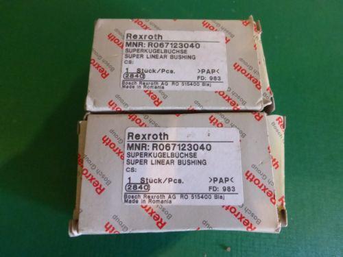 1 Lot of 2 Rexroth MNR:067123040 Supper Linear Bushing