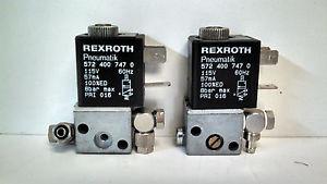 LOT OF 2 GUARANTEED REXROTH PNEUMATIK 115V 57MA VALVES 572-400-747-0