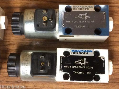 Mannesmann Rexroth 4WE 6 D61/EG24K4 SO293 Control Valve, Used WorkIng