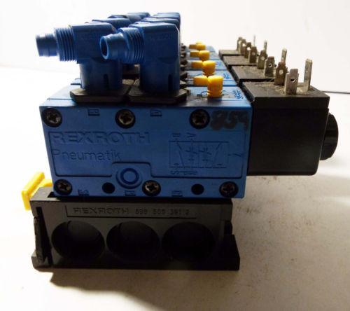 1 USED REXROTH 898-500-391-2 PNEUMATIC MANIFOLD W/ 572 745 SOLENOID VALVE ASSY