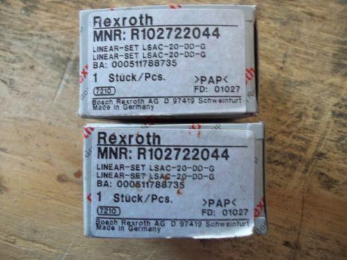 LOT OF 2  Origin MATCHING REXROTH R102722044 LINEAR-SET  LSAC-20-DD-G   BUSHINGS
