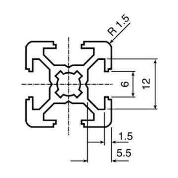 Bosch Italy Dutch Rexroth Extrusion Aluminium (Cut To Length),6mm Groove,3000mm L, 20x20mm