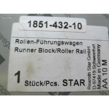 New Canada USA Rexroth Star 1851-432-10 D-97419 Runner Block Roller Rail Free Shipping