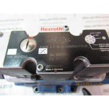 REXROTH HYDRAULIC VALVE 3DREPE6C-20=25EG24N9K31/F1V=0 USED