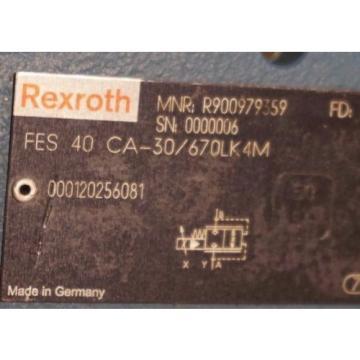 Origin REXROTH FES40 CA-30 PROPORTIONAL VALVE R900979559, FES40CA30/670LK4M