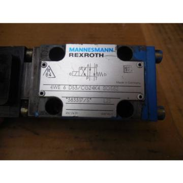 Rexroth Mannesmann Hydraulic Valve 4WE 6 D53/CG24K4 SO582 Used