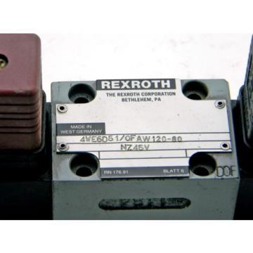 Origin REXROTH 4WE6D51/0FAW120-60 NZ45V HYDRAULIC VALVE 4WE6D51/0FAW120-60NZ45V