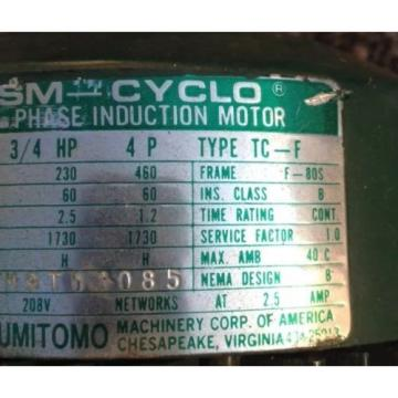 SM CYCLO 3/4 HP 3 PHASE INDUCTION MOTOR WITH SUMITOMO GEAR REDUCER 6:1
