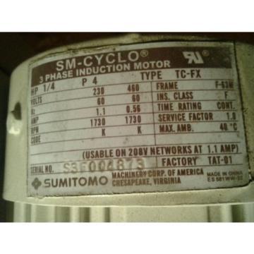 Origin Sumitomo Gear Motor CNHMS-02-6095-YC51 1/4HP 230/460V 1730RPM Electric Motor