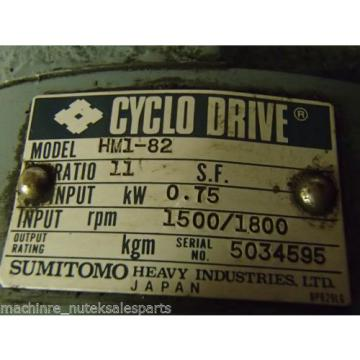 Sumitomo CYCLO Drive Gear Reducer HM1-82 Motor w/ brake Ration 11 _ HM182