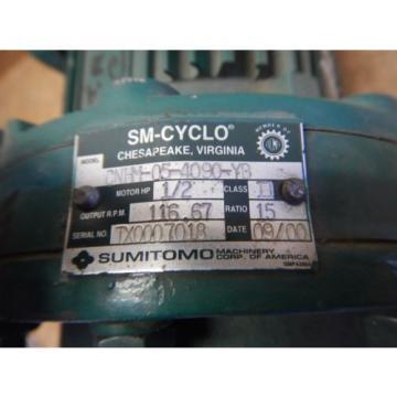 Origin Sumitomo CNHM-05-4090-YB Gear Reducer amp; Motor 1/2 HP 15:1 Ratio 230/460 Volt