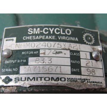 Sumitomo SM-Cyclo CNHM024075YA21 1/4HP Gear Motor 21:1 Ratio 208-230/460V 3Ph