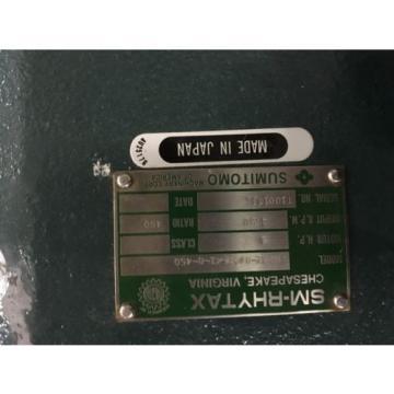 SUMITOMO SM-RHYTAX GEAR MOTOR, KHYM1-80DA-K1-B-450, RATIO 450, 480V, USED