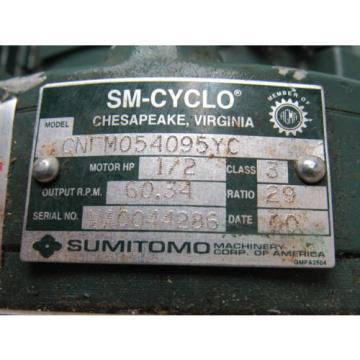 Sumitomo SM-Cyclo CNFM054095YC 1/2HP Gear Motor 29:1 Ratio 208-230/460V 3Ph