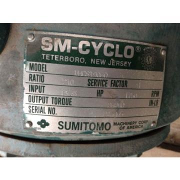 Sumitomo SM-Cyclo VHCS19060 Gear Drive/Speed Reducer 135HP 210:1 1750RPM