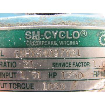 Sumitomo SM-Cyclo CNHXS4097Y21 Inline Gear Reducer 21:1 Ratio 151 Hp 1750RPM