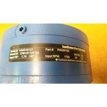 Sumitomo 6000 Cyclo Speed Gear Reducer Gearmotor CHN-6110Y-43 1750rpm Rebuilt