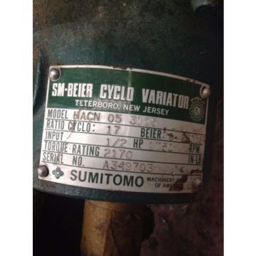 Sumitomo SM-Beier Variator HACN-05-3105 1/2HP Gear Drive/Speed Reducer 17:1