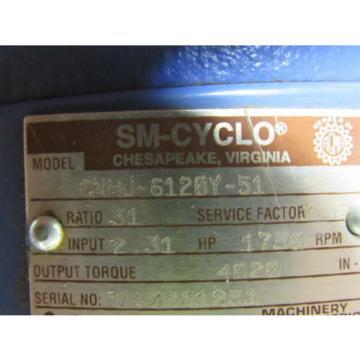 Sumitomo SM-Cyclo CNHJ-6120Y-51 Inline Gear Reducer 51:1 Ratio 231 Hp