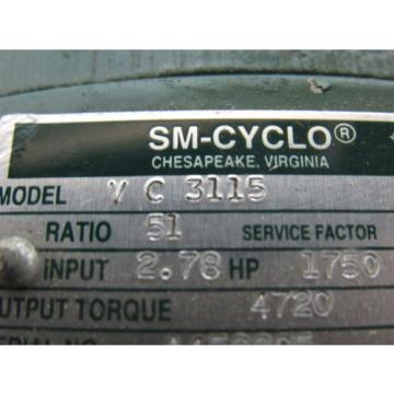 Sumitomo SM-Cyclo VC3115 Inline Gear Reducer 51:1 Ratio 278 Hp