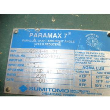 SUMITOMO PARAMAX GEAR REDUCER 7090P3 -71-1