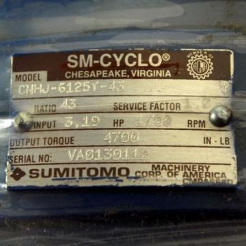 Sumitomo CNHJ-6125Y-43 Gear Reducer 1750 RPM - Origin