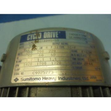 SUMITOMO CNHM02 - 4095 - 59 AC INDUCTION GEAR MOTOR TC - F  TYPE F - 63M TOOLING