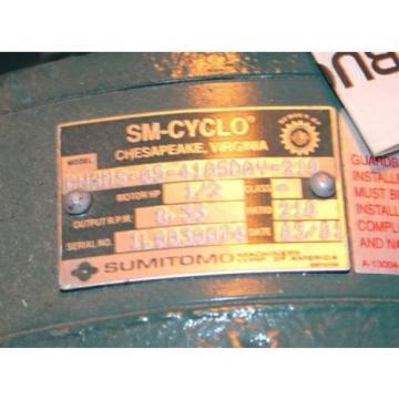 Sumitomo SM-Cyclo TC-F CNHMS-05-4105DAY-210 Gear 1/2hp 5hp 3p Electric Motor