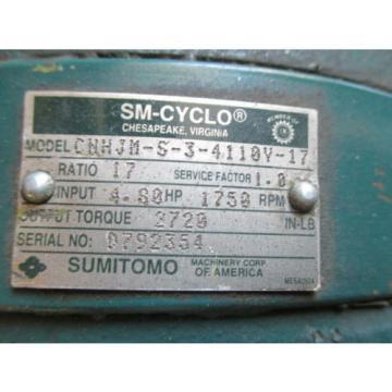 SM CYCLO SUMITOMO CNHJM S 3 4110Y SPEED REDUCER INDUSTRIAL MADE IN USA MOTORS