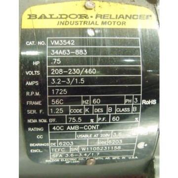 BALDOR RELIANCE 3/4 HP MOTOR VM3542 WITH SUMITOMO GEAR REDUCER HS3105H8