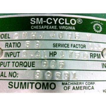 SUMITOMO SM-CYCLO REDUCER Ratio 59 41Hp 1750rpm