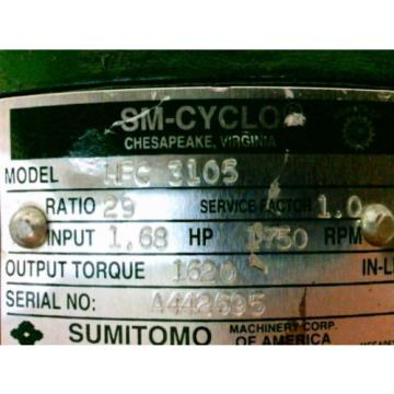 SUMITOMO SM-CYCLO REDUCER HFC3105 Ratio29 168Hp 1750Rpm Approx Shaft Dia 1140#034;