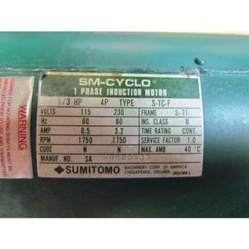 SUMITOMO; SM-CYCLO 1Ph Motor; Model S-TC-F; 1/3HP; 115/230 Volts; W/43:1 Ratio