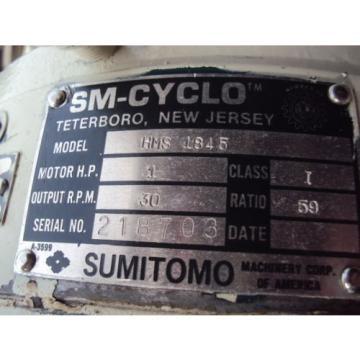 SUMITOMO SM-CYCLO HMS 1845 WITH TOSHIBA MOTOR 1 HP RPM 1735 V 460  USED