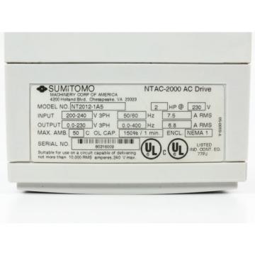 Sumitomo NT2012-1A5 2HP AC Motor Drive 230VAC Sensorless Flux Vector NTAC-2000