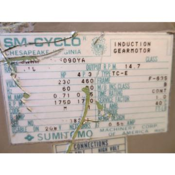 SM-CYCLO SUMITOMO CHIP CONVEYOR  GEARMOTOR MOTOR TC-E 090YA
