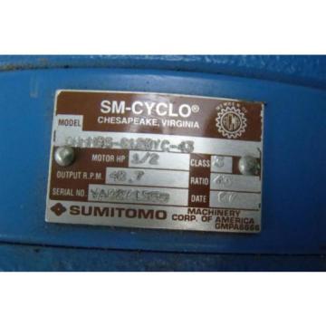 SUMITOMO SM-CYCLO CNHM05-6128VC-43 INDUCTION MOTOR 1/2HP 230V 1750 RPM TC-FX