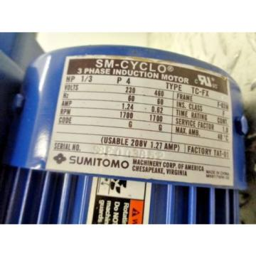 SUMITOMO SM-CYCLO TC-FX CNVM03-6075YA25 1/3HP 3PH 1700RPM