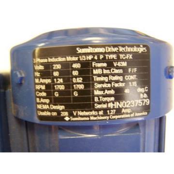 Sumitomo SM-Cyclo 6000 In-Line Gearmotor CNHMS03-6125DBYA-289 1/3HP Ratio 289:1