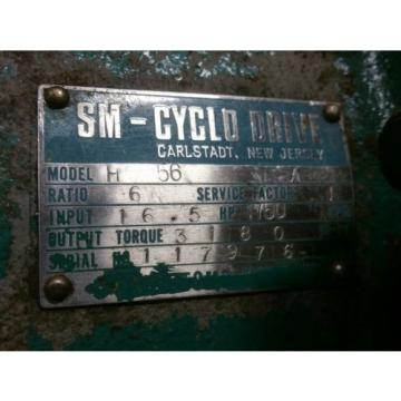 SUMITOMO SM-CYCLO GEARBOX MODEL H56 / RATIO 6 / INPUT HP 165 / RPM 1750