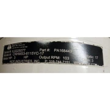 1 Origin SUMITOMO CNHMS3-615YC-17 CYCLO 6000 INLINE GEARMOTOR 3HP MAKE OFFER