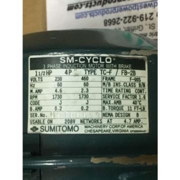 Sumitomo Cyclo gearmotor CNHM-1H-4105YC-B-15, 117 rpm, 15:1,15hp, 230/460,BRAKE