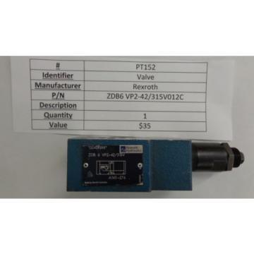 REXROTH HYDRAULIC VALVE MODEL# ZDB 6 VA2-42/315V PT152, PT114