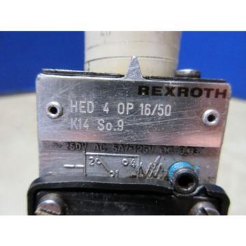 REXROTH VALVE HED 4 0P 16/50 K14 SO9 250V HED40P16/50 HED 4 OP 16/50