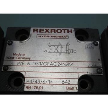 REXROTH HYDRONORMA  VALVE 4 WE6 D51/OFAG24N9K4 32 4WE6D51/OFAG24N9K432