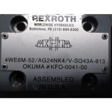 REXROTH HYDRAULIC  VALVE 4WE6M-52/AG24NK4/V-SO43A-813 KFO-0041-00 For each 1