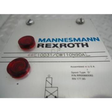MANNESMANN REXROTH DIRECTIONAL VALVE  4WE10D31/CW11ON9DA